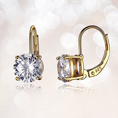 9b62e76c0 14k Yellow Gold Plated Sterling Silver Round 7.5mm Cubic Zirconia Leverback  Earrings 3 cttw
